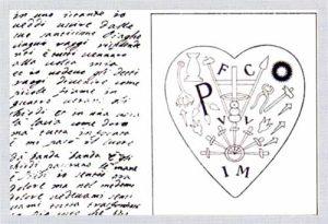 Foglio in cui suor Veronica descrive la propria stimmatizzazione e segni mistici nel suo cuore