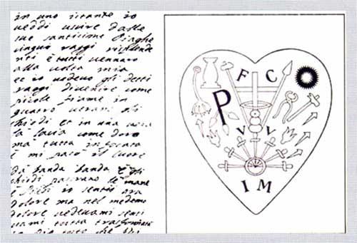 Amici napoletani di Santa Veronica Giuliani: Foglio in cui suor Veronica descrive la propria stimmatizzazione e segni mistici nel suo cuore