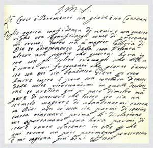 Foglio di una lettera scritta da suor Veronica al confessore gesuita padre Giuliano Brunori, senza data